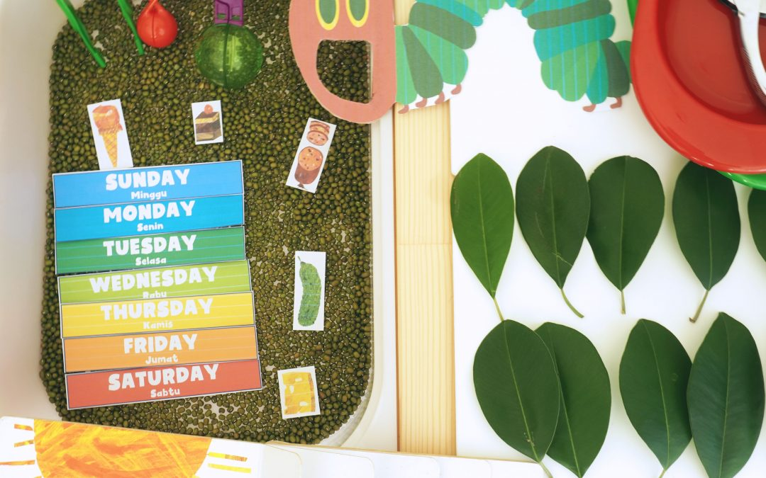 Very Hungry Caterpillar Sensory Play and Days of the Week Printable